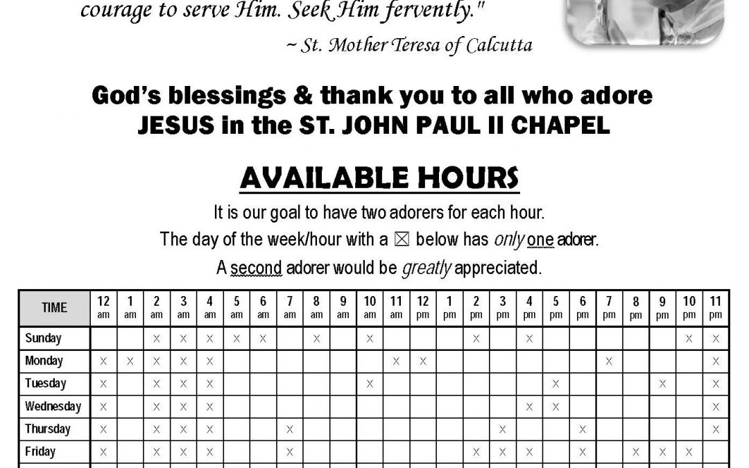 Perpetual Adoration: 2nd Adorer needed