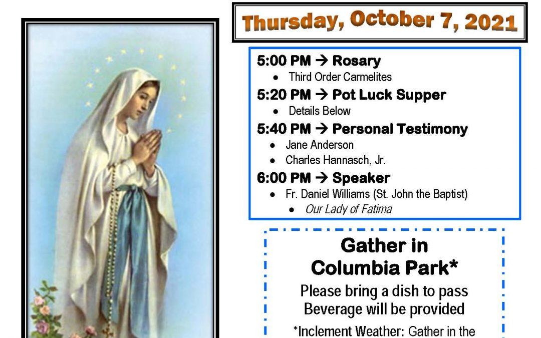 Marshfield Rosary Rally – Thursday October 7th, 2021
